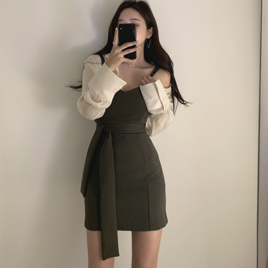 Two Piece Set Women Long Sleeve Slightly Transparent Blouses And High Waist Sexy Mini Spaghetti Strap Lady Dress 2 Piece Suit
