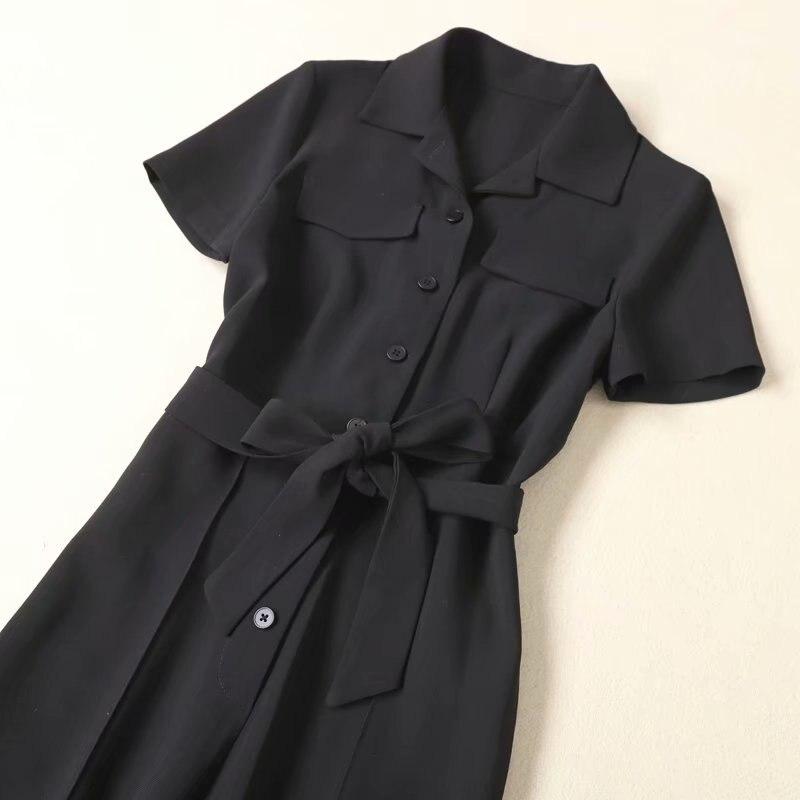 Hohe Qualität Overalls 2020 Frühling Sommer Elegante Overalls Frauen drehen unten Kragen Brust Tasche Kurzarm Voller Länge Overall - 3