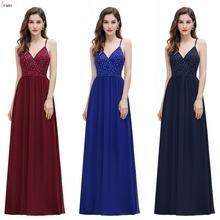 Длинные Бордовые шифоновые платья для подружек невесты 2020