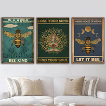Mental Bee Kind Lose Your Mind Find Your Soul Poster and Print Yoga Wall Decoration Vintage Posters Wall Art Home Painting Decor