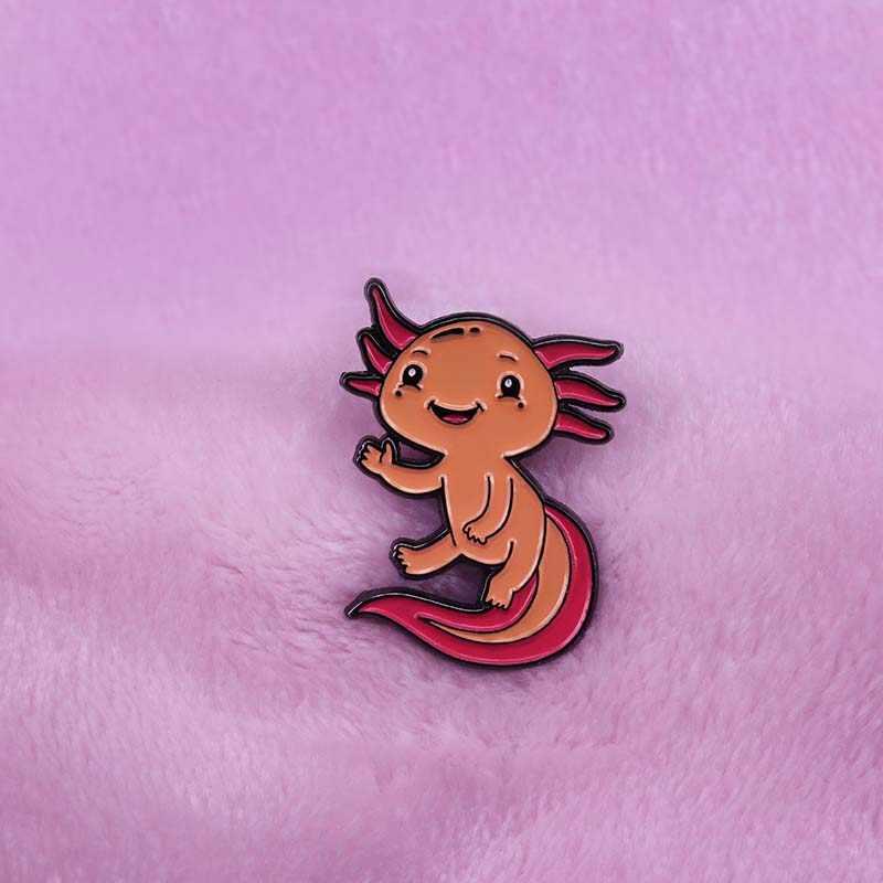 Cartoon Axolotl emalia Pin prezent dla salamander naszywka zwierzę