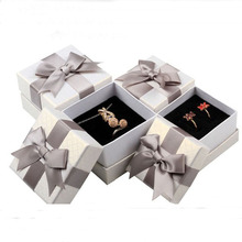 50pcs/lot Bow square jewelry box Ring Earring Packaging boxes Necklace Pendant Carrying Cases Jewellery Organizer box