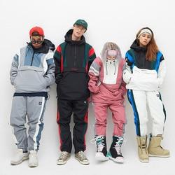 Chaqueta de snowboard de montaña impermeable para hombres y mujeres, ropa de snowboard de invierno esquí caliente a prueba de viento, trajes multibolsillos