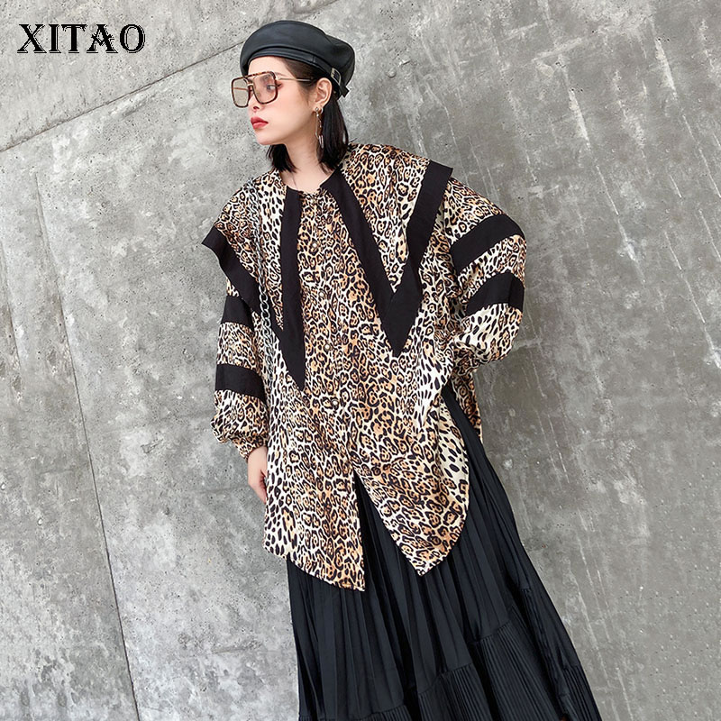 XITAO Vintage Big Pointed Collar Shirt Trend Leopard Print Womens Tops And Blouses Streetwear Wild Loose Women Clothes DMY3125