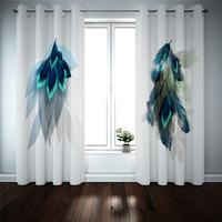 Printed 3D Blackout Curtains For Living Room Bedroom Drapes Cortinas feather Creative Modern Kitchen Curtains Customized size
