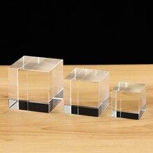 Yüksek kaliteli şeffaf şeffaf kristal küp Paperweight DIY cam boş gravür için