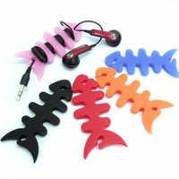 Haute qualité Silicone poisson os casque écouteur cordon fil en caoutchouc câble enrouleur support données câble organisateur