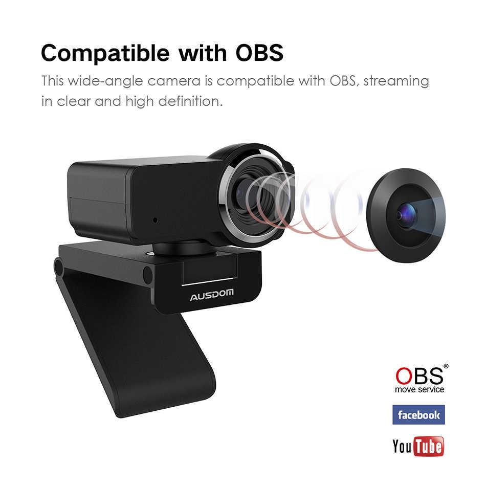 AUSDOM AW635 HD 1080P потоковая веб-камера с микрофоном с шумоподавлением и автоматический светильник для коррекции ПК камеры для OBS Skype YouTube