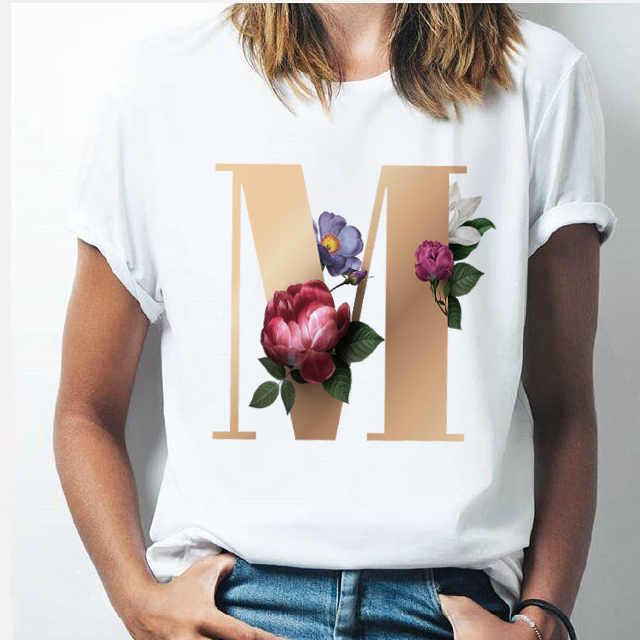 Vogue 26 Alphabet Golden Letter Women T-shirt Harajuku A To Z Alphabet Combination Flower Short Sleeve Casual Korean Style Tops
