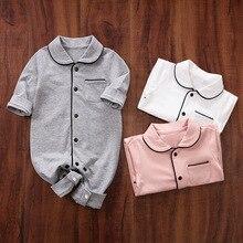 Одежда для малышей; комбинезон для новорожденных; комбинезон для маленьких мальчиков и девочек с длинными рукавами и воротником с лацканами; комбинезон; Комбинезоны для детей