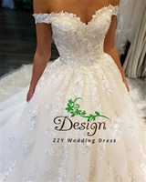 Atractive Off The Shoulder Appliques Lace Up Organza And Tulle Bride dress For Wedding Custom Made Perfect Wedding Gown