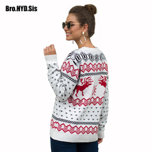 Winter Fashion Jacquard Women Sweater Crew Neck Pullovers Ugly Christmas Woman Jumpers Snowflakes Elk Pattern Female Tops White цены