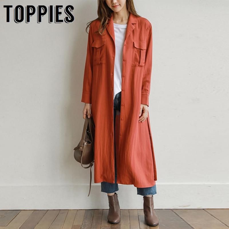 Women Shirts Trench-Coat Oversized Windbreaker Korean Long Thin Streetwear
