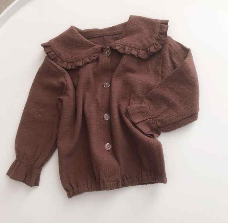春と夏新少年女子綿セーラー襟 2 色シャツ長袖シャツ