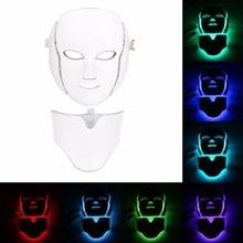 Светодиодный светильник, 7 цветов, микротоковая маска для лица, фотонная терапия, омоложение кожи, маска для лица и шеи, Отбеливающее электрическое устройство