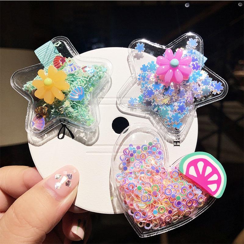 New Girls Cute Colorful Star Heart Hairpins Children Sweet Headband Hair Clips Barrettes Kids Ornament Fashion Hair Accessories