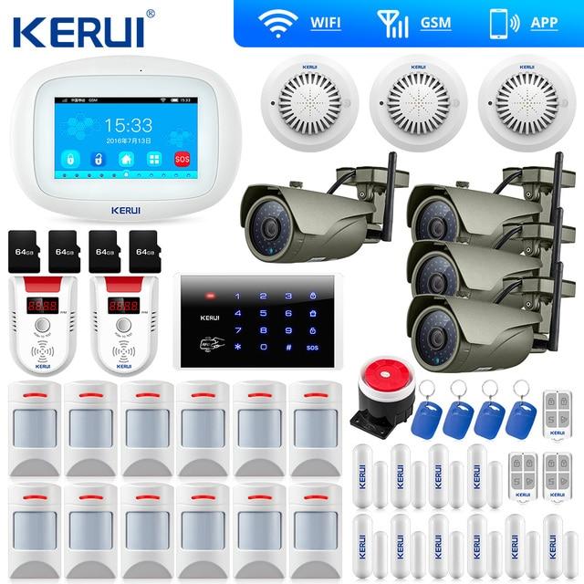 KERUI 7 дюймов TFT цвет дисплей Аварийная сигнализация wifi gsm ISO приложение для Android дистанционное управление дома охранной сигнализации Дым сенсор