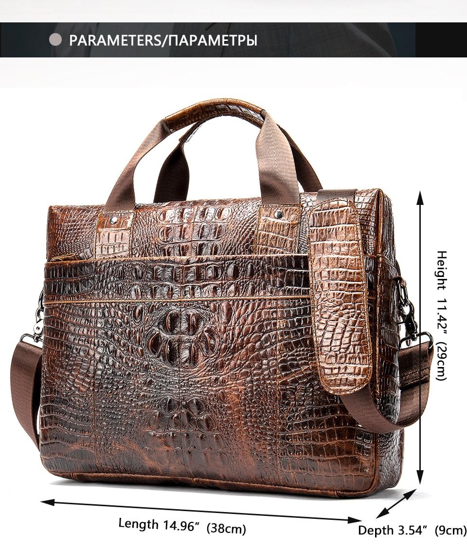 Hea481ba04ea24d48a75675f4c24f8ff9F WESTAL Men Briefcase Men's Bag Genuine Leather Office Bags for Men Laptop Bag Leather Briefcase Men Croco Design Computer Bags