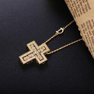 Image 3 - Slovecabin 925 فضة إيطاليا Luxulry مزدوجة عبر نقل D رسالة سلسلة بيل إيبوك دلاية من حجر الزركون قلادة مجوهرات