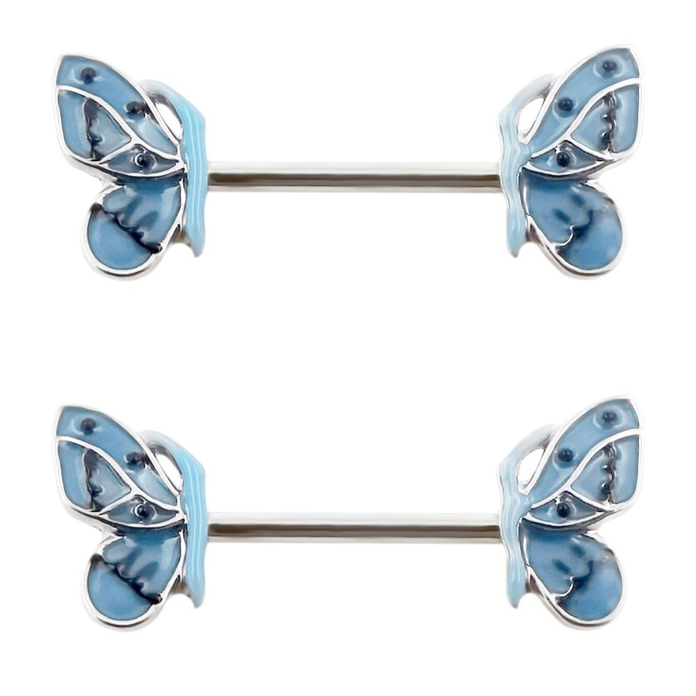 JHJT 2PCS Nipple Rings Butterfly 316L Surgical Steel Shied Barbell Piercing Rings Sexy Women Nipple Rings Body Jewelry Ring 14G