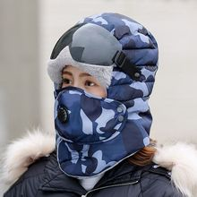 Hat Army-Mask Russia Camo Sunglass Bomber-Hat Warm Winter Women New Thick Hunting-Hat