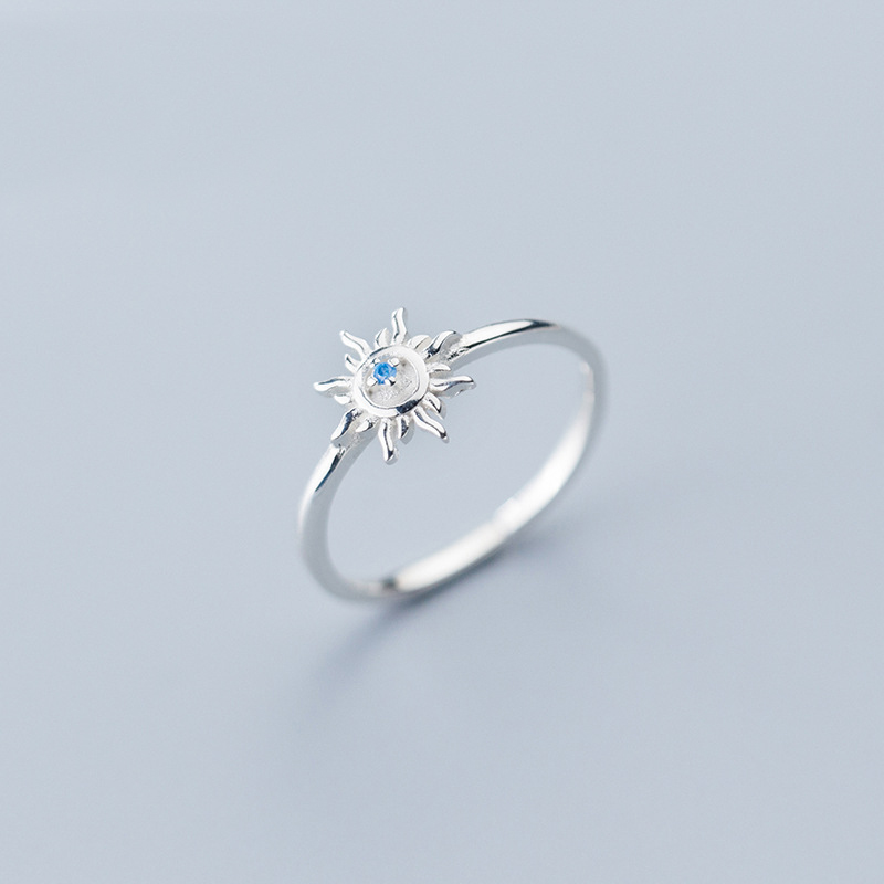 MloveAcc High Quality 100% 925 Sterling Silver Sparkling Sun Dazzling CZ Finger Rings For Women Engagement Jewelry Anel