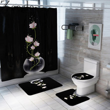 Funny Gorilla Art Shower Curtain Bath Mat Toilet Cover Rug Bathroom Decor