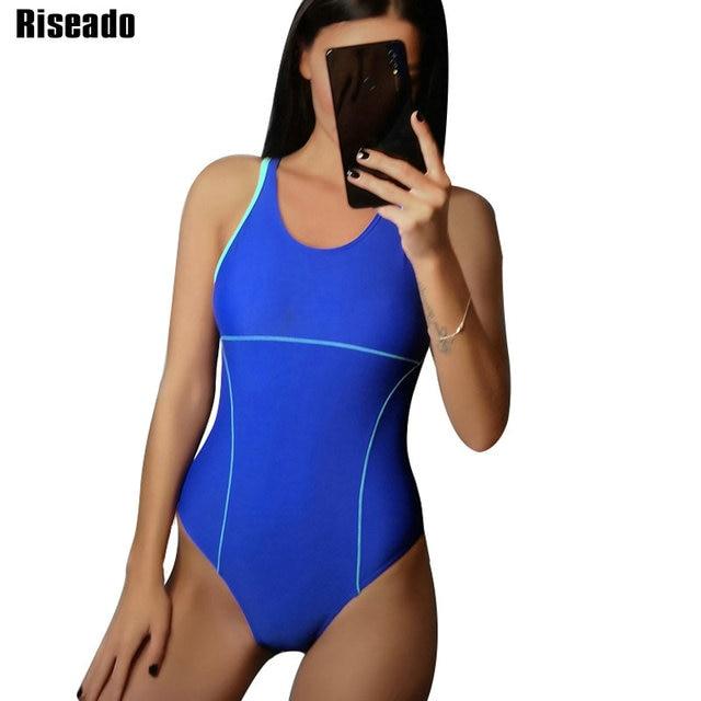 Riseado 여성을위한 새로운 2019 스포츠 수영복 경쟁 수영복 원피스 수영복 솔리드 레이서 백 수영복
