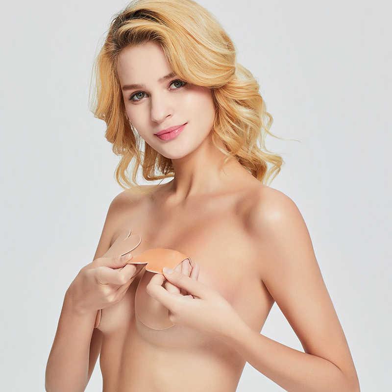 Thời trang Áo Ngực Băng Núm Vú Bao Lót Femme Lưng Giữa Sexy Gợi Cảm Silicone Áo Ngực Magic Liền Nâng Ngực Vô Hình Push Up Bra Pasties