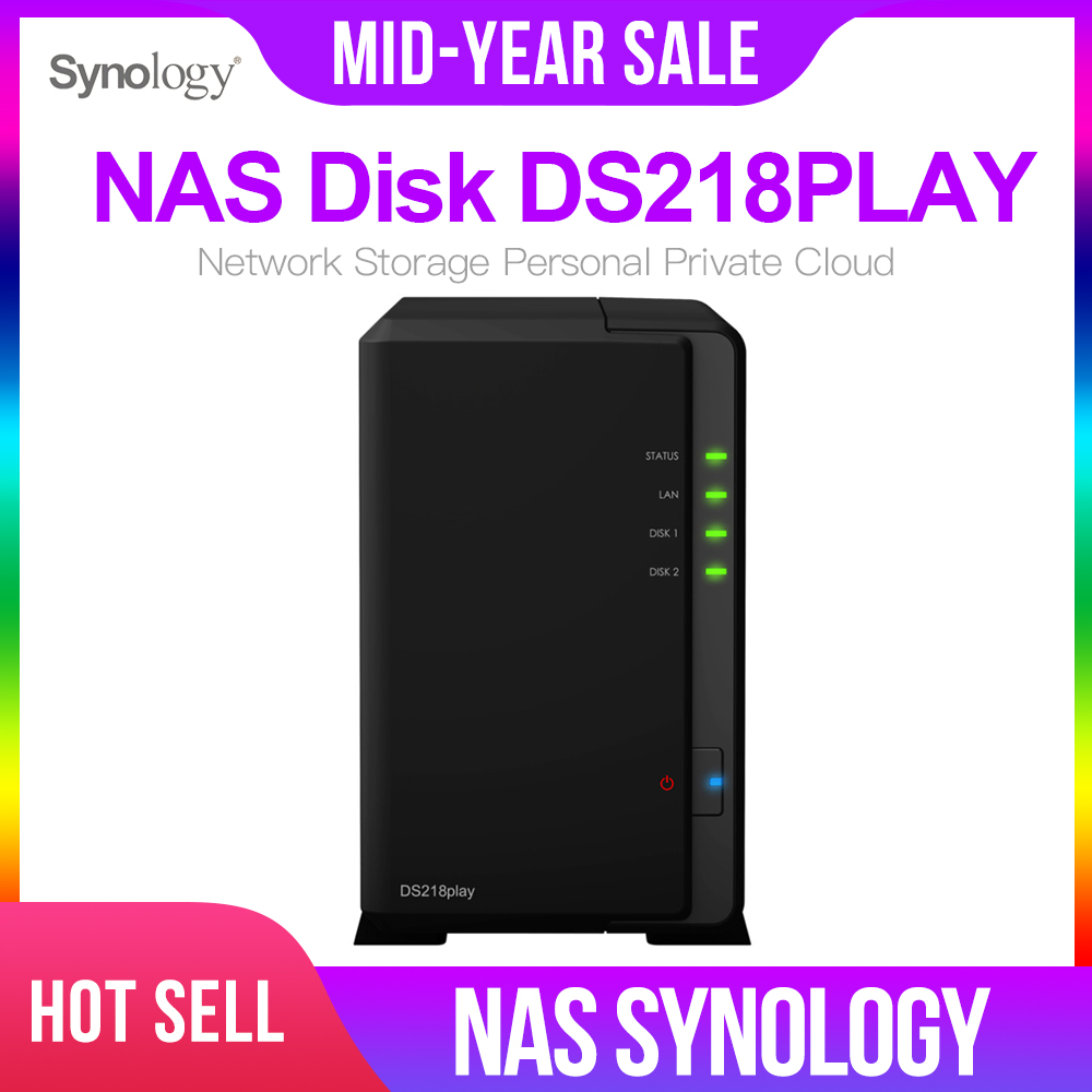 Synology DiskStation DS218PLAY 2-Bay Desktop NAS for Home /& SOHO