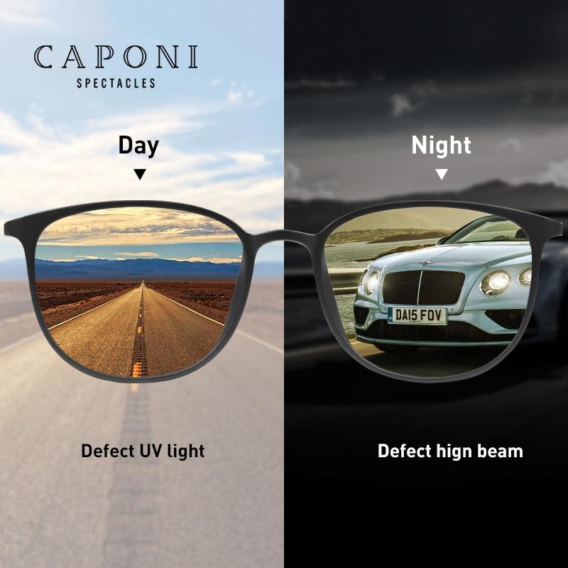 CAPONI Photochromic Sunglasses Men Driving Chameleon Glasses Male Yellow Lens Sun Glasses Day Night Vision Oval Eyewear BSYS520
