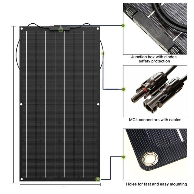100W Flexible Solar Panel 12V Solar charger A Grade Monocrystalline solar cell