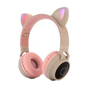 Image 4 - Vococal słodki kociak słuchawki składany zestaw słuchawkowy Bluetooth 5.0 z oświetleniem LED wsparcie karty TF dla dzieci świąteczne prezenty bożonarodzeniowe
