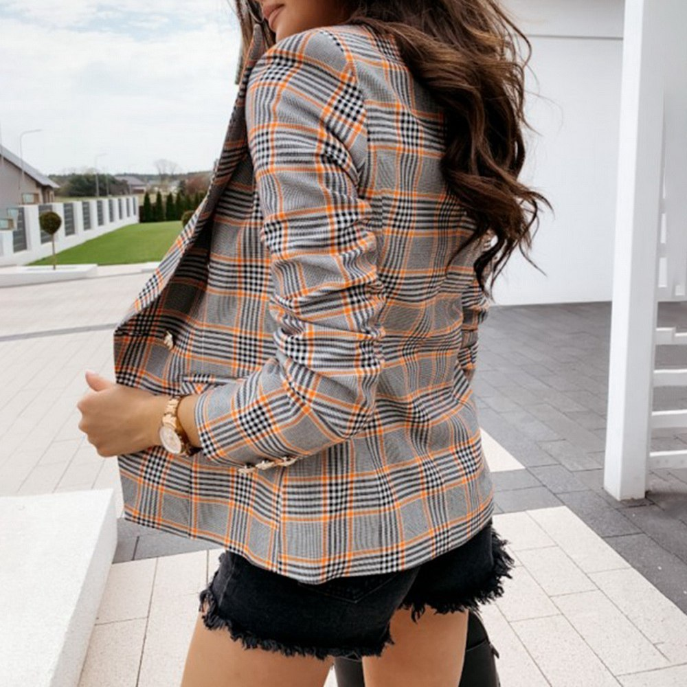 2020 Fashion New Women's Coat Double-breasted Plaid Blouse Women's Long-sleeved Ultra-thin Blouse Casual Fall Jacket Women