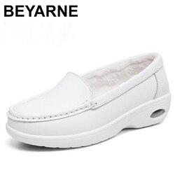 Beyarnewinter couro genuíno sapatos femininos novo estilo casual respirável ar escritório sapatos de trabalho quente enfermeira shoesl063
