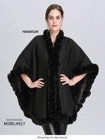 YWAIRSUN Women's plus velvet imitation fox fur collar knit cardigan shawl black curled poncho cape coat Female gift to keep warm