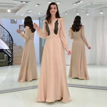 Tanpell Elegant Prom Dress Scoop Neck Long Sleeves Zipper up Appliques Hollow Woman Party Gown Floor Length A Line Evening Dress все цены
