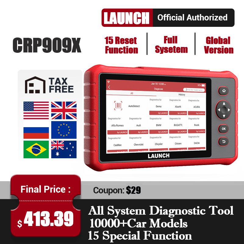 Launch X431 CRP909X OBD2 Scanner Full Systems Auto Scanner obdii Car diagnostics Tool OBDII EOBD Auto Code Creader CRP909 MK808