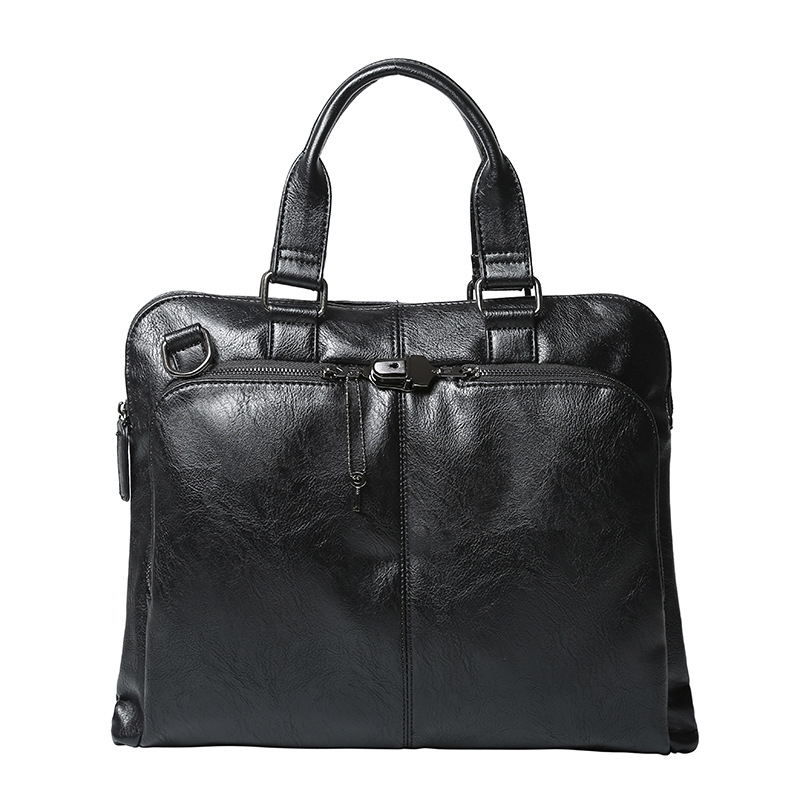 Brand Men Business Office Briefcase Black PU Leather Handbag Male Shoulder Computer Laptop Bags Casual Crossbody Bags Women Tote