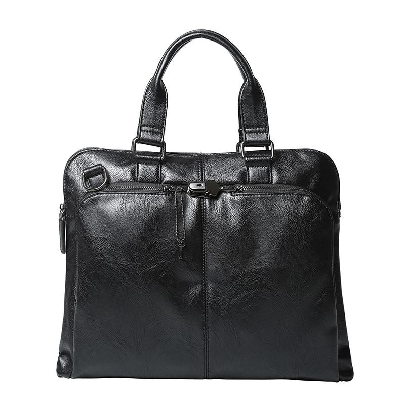 Brand Men Business Office Briefcase Black PU Leather Handbag Male Shoulder Computer Laptop Bags Casual Crossbody Bags Women Tote