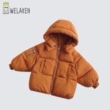 Welaken/детская зимняя одежда из хлопка; однотонная модная повседневная одежда в Корейском стиле с капюшоном; детская одежда