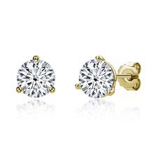 925 Sterling Silver Sona Diamond Stud Earrings Yellow Gold C