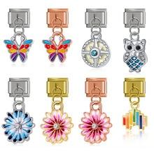 9mm Bracelet Daisy Italian Charm Flower-Butterfly Owl Jewelry-Making Stainless-Steel