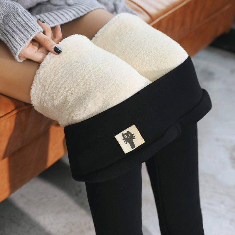 Black Warm Pants Winter Skinny Thick Velvet Casual Wool Fleece Trousers Lambskin Cashmere Pants For Women Leggings Dropshipping
