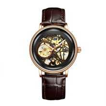 BIDEN Clock Casual Mechanical Mens Watches 2019 Fashion Top Brand Creative Dial Brown Genuine Leather Automatic Male Sport Watch ik mens watch mechanical watches top brand luxury fashion casual mechanical clock simple gold leather large dial wristwatch
