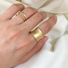 Anillo Para dedo ancho de oro mate para niña, colgante de Metal inoxidable redondo geométrico, anillos de joyería de tamaño ajustable para mujer, regalos 2020