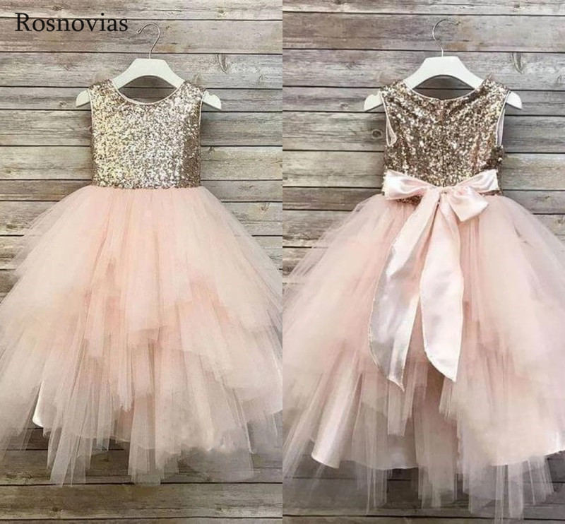 Sparkle Tiered Skirt Flower Girl Dresses For Weddings 2020 Jewel Child Birthday Party Gowns Girl Pageant Dress With Bow