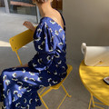 Корейская шикарная одежда для французских меньшинств на весну и осень, элегантное свободное приталенное платье средней длины с цветочным п...
