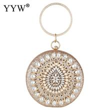 Ladies Sparkly Rhinestone Round Evening Clutch Bag Wedding Bridal Party Purse Crystal Clutches Purse Gold Elegant Handbags 2019 beautiful flamingo crystal wedding clutch bags crystal clutches purse women evening bags ladies handbag
