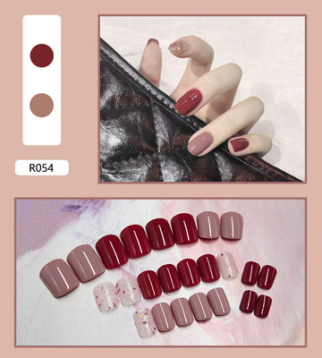 Fake Nails Art Nail Tips Press on False with Designs Set Full Cover Artificial Short Packaging Kiss Display Clear Tipsy Stick 6
